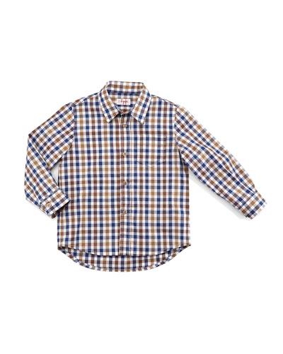 Long-Sleeve Poplin Check-Print Shirt, Beige, Size 5-8