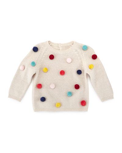Knit Pom-Pom Pullover Sweater, Beige, Size 2-4