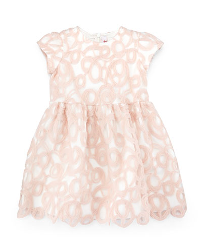 Short-Sleeve A-Line Overlay Dress, Pink, Size 2-4