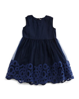 Sleeveless Embroidered Tulle Dress, Navy, Size 5-8