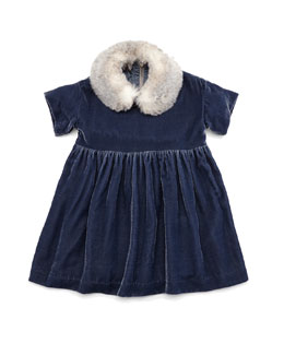Short-Sleeve Velour A-Line Dress, Blue, Size 5-8