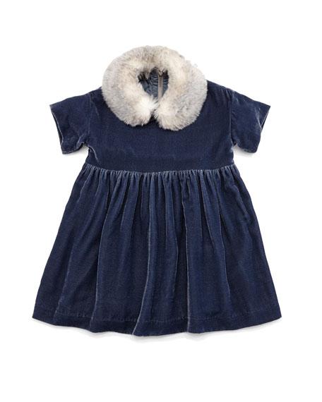 Il Gufo Short-Sleeve Velour A-Line Dress, Blue, Size