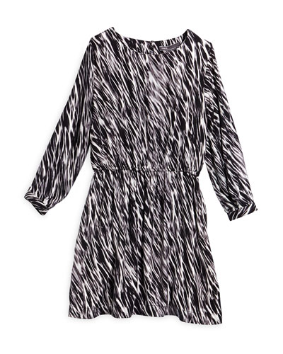 Long-Sleeve Printed Dress, Black/White, Size S-XL