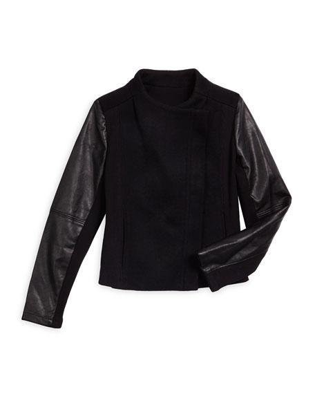 Vince Faux-Leather-Trim Wool-Blend Combo Jacket, Black, Size S-XL