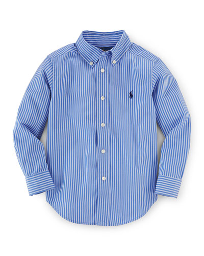 Blake Striped Poplin Shirt, Blue/White, Size 2-7