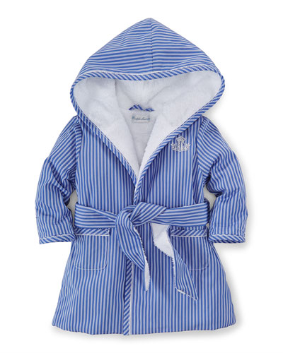Striped Terry-Lined Robe, Blue/White, Size 3-9 Months
