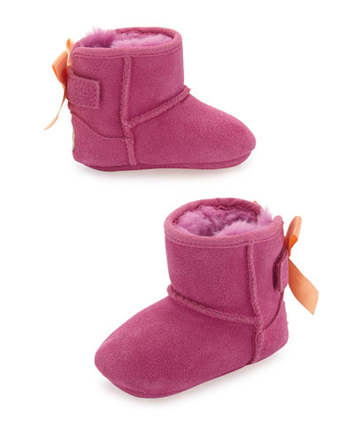 Jesse Suede Bow-Trim Bootie, Pink, Infant