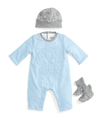 3D-Stitched Coverall, Printed Baby Hat & Knit Socks, Light Blue/Gray, Size Newborn-9 Months