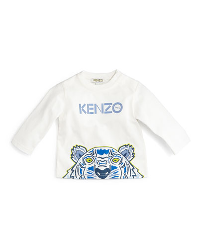Tiger-Print Cotton Jersey Tee, Ivory, Size 12M-2Y