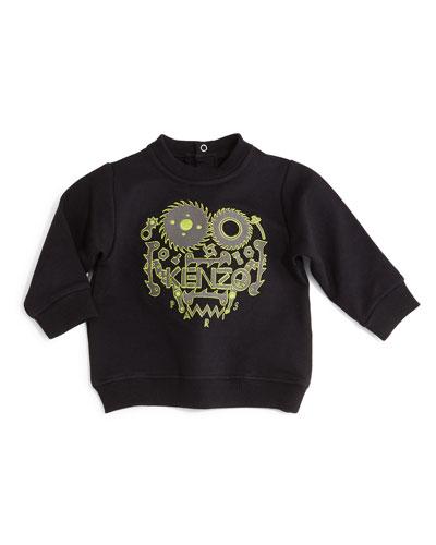 Embroidered Snap-Back Sweatshirt, Black, Size 12M-2Y