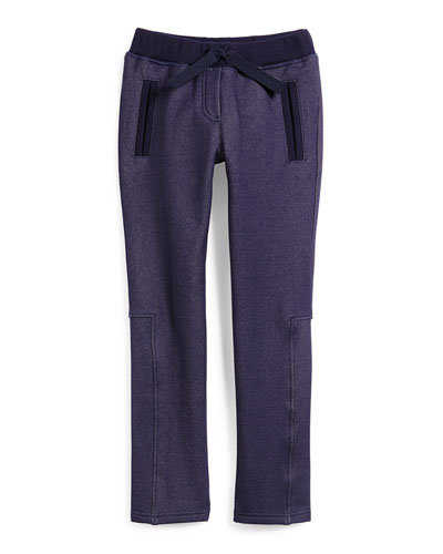 Cotton-Blend Drawstring Sweatpants, Indigo, Size 6-10