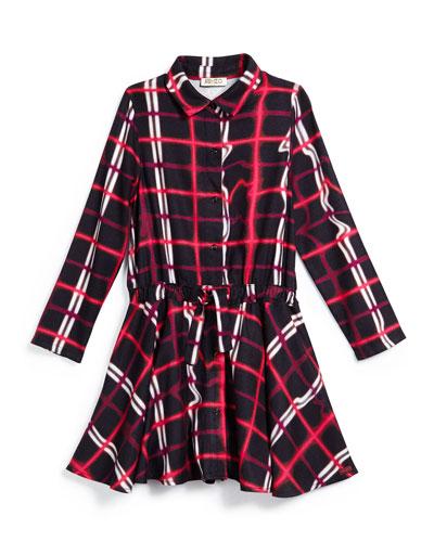 Plaid Drawstring A-Line Dress, Black/Red, Size 6-10