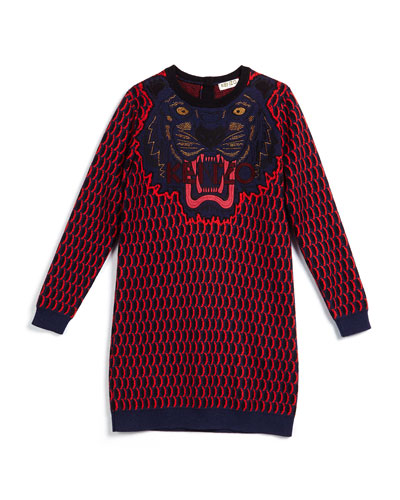 Long-Sleeve Knit Shift Dress, Marine Blue, Size 6-10