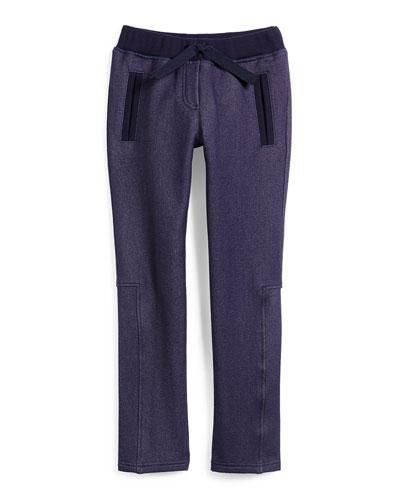 Cotton-Blend Drawstring Sweatpants, Indigo, Size 14-16