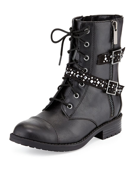 Elie Tahari Faux-Leather Buckle-Trim Moto Boot, Black, Youth