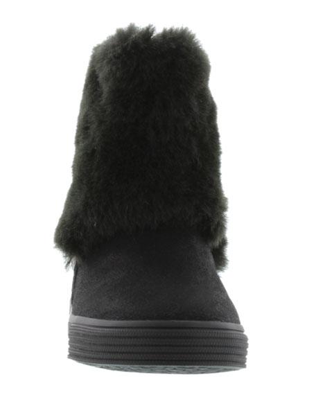 Vance Faux-Fur-Trim Microsuede® Bootie, Black, Toddler