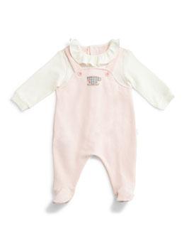 Long-Sleeve Illusion Footie Pajamas, Light Pink, Size Newborn-9 Months