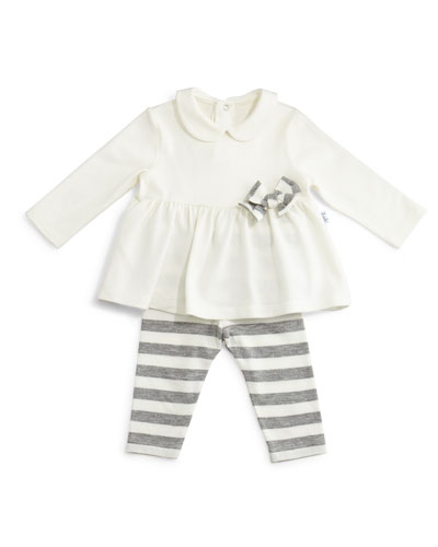 Long-Sleeve Knit Top & Striped Leggings, White/Gray, Size 3-18 Months