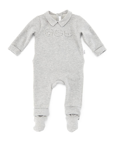 3D-Stitched Collared Footie Pajamas, Gray, Size Newborn-9 Months