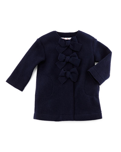 Fleece Button-Front Coat w/ Bows, Navy, Size 3-4