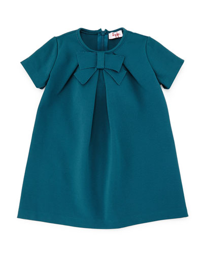 Milano Short-Sleeve Ponte Dress, Green, Size 2-4
