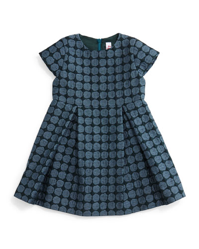 Cap-Sleeve Woven Polka-Dot Dress, Slate, Size 5-8