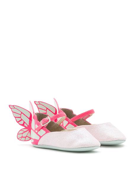 Sophia Webster Chiara Leather-Trim Butterfly Mary Jane Flat,