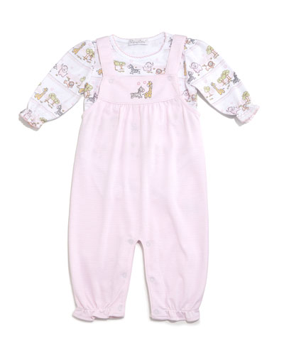 Jungle Menagerie Pima Overall Set, Pink, Size 3-9 Months