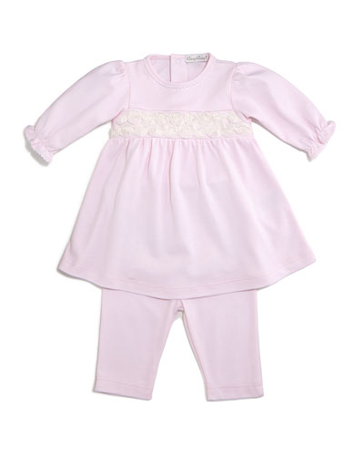 Winter Roses Pima Jersey Dress w/ Leggings, Pink, Size 6-24 Months