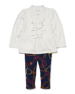 Poplin Draped-Front Top & Equestrian-Print Leggings, Trophy Cream, Size 9-24 Months