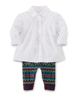 Batiste Bib-Front Tunic & Printed Leggings Set, White, Size 9-24 Months