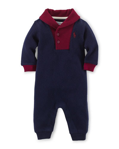 Cotton Colorblock Coverall, French Navy, Size 3-12 Months