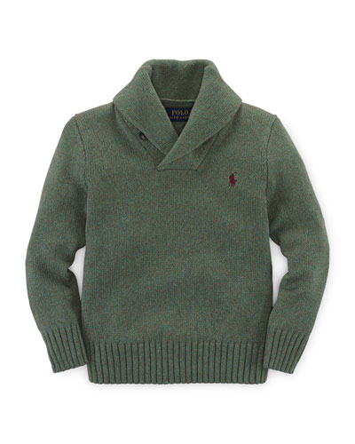 Cotton-Blend Shaw-Collar Pullover Sweater, Shamrock Heather, Size 2T-7