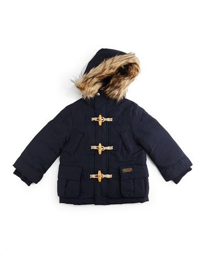 Faux-Fur-Trim Hooded Down Toggle Parka, Aviator Navy, Size 2T-7