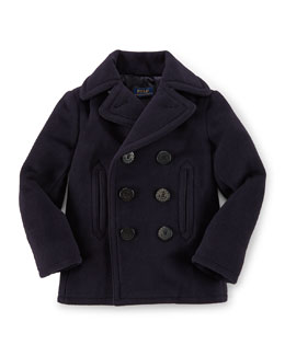 Double-Breasted Naval Peacoat, Blue, Size 2T-7