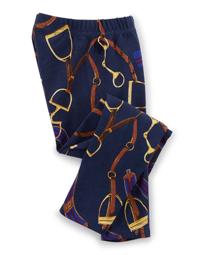 Equestrian-Print Stretch Leggings, Blue, Size 2T-6X