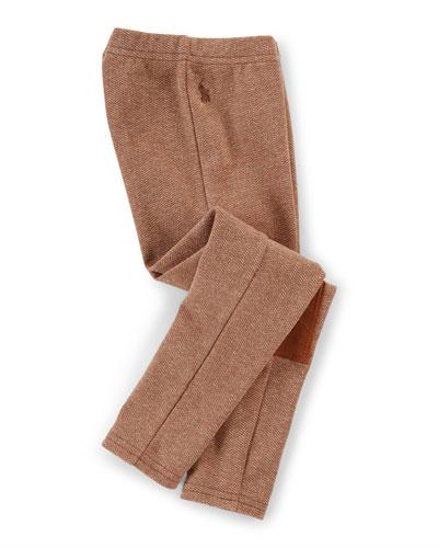 Tweed Herringbone Leggings, Brown, Size 2T-6X