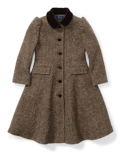 Wool Herringbone Prince Peacoat, Brown, Size 2T-6X