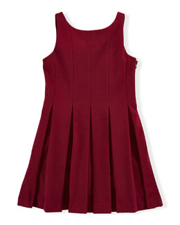 Sleeveless Pleated Ponte Dress, Monarch Red, Size 2T-6X