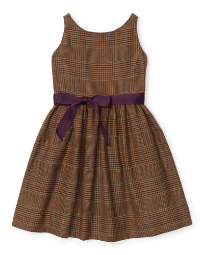 Sleeveless Tweed Glen Plaid Dress, Brown, Size 2T-6X