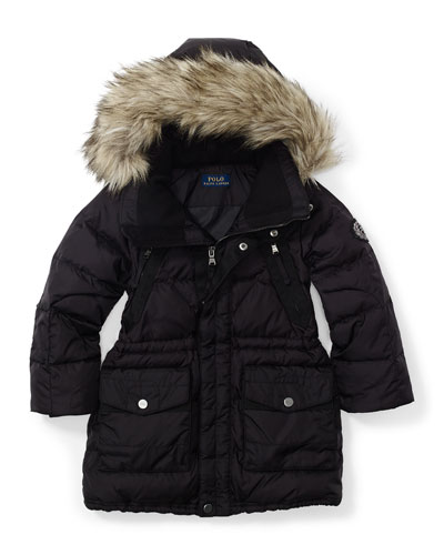 Faux-Fur-Trim Hooded Parka, Black, Size 2T-6X