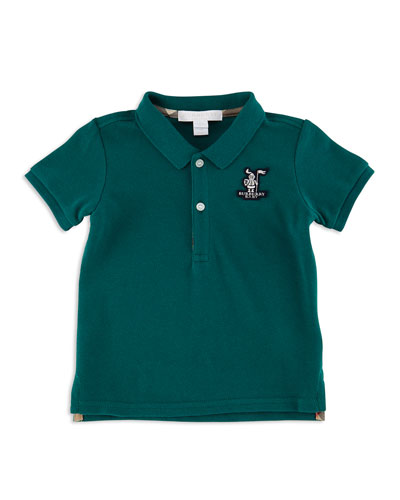 Palmer Pique Polo Shirt, Mineral Green, Size 3M-3Y