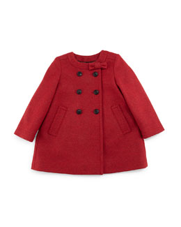 Rose Double-Breasted Wool-Blend Coat, Cherry, Size 3M-3Y