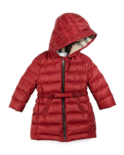 Catherine Quilted Down Coat, Size 3M-3Y