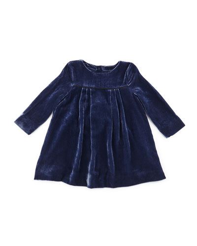 Meggy Long-Sleeve Velvet Shift Dress, Navy, Size 3M-3Y