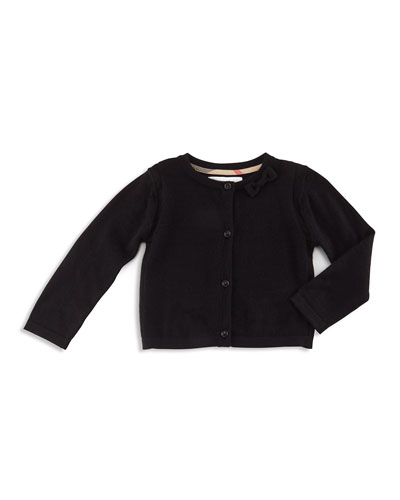 Bethany Cashmere Button-Front Cardigan, Black, Size 3M-3Y