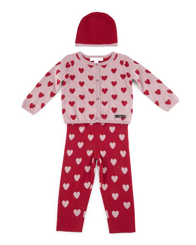 Casie Cashmere 3-Piece Boxed Set, Peony Rose, Size 3M-3Y