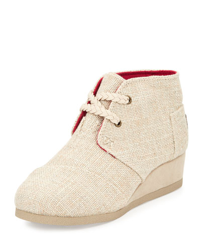Metallic Desert Wedge Bootie, Gold, Youth