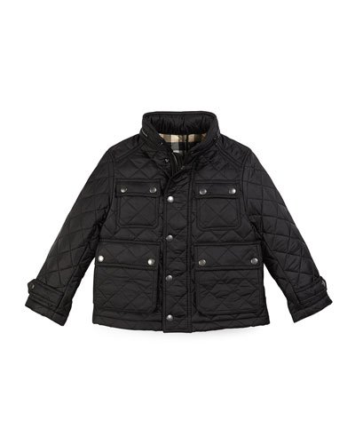Halesworth Quilted Coat, Black, Size 4-14