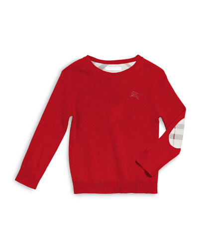Cashmere Durham Pullover Sweater w/ Elbow Patches, Military Red, Size 4-14